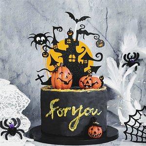 Kek Topper Hile veya Treat Parti kabak Mutlu Halloween örümcek kale gülümseme Tatlı Dekorasyon Malzemeleri