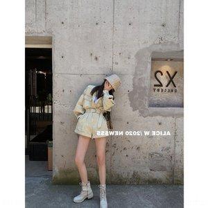 col QQY12 curling baseball manteau denim outillage baseball lavé manteau taille haute short short ligne A costume mode féminine