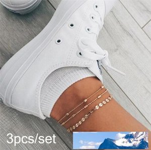 Fashion Summer Beach Multi-layered Sequin Bead Chain 3-piece Set Anklet Charms Leg Bracelets for Women Jewelry Accessories