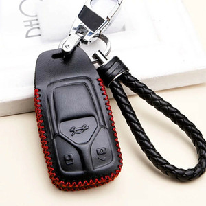 Black 3 BTN Leather Bag Cover Key Fob Case Shell Chain For AUDI A4 Q5 Q7 TT TTS