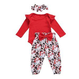 0-18M Toddler Infant Baby Girl Xmas Clothes Set 2020 Autumn Long Sleeve Bodysuit Bow Pants Headband Christmas Outfits 3Pcs