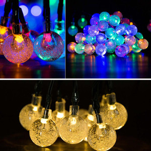 30 Bulbs LED String Lights Solar Powered Waterproof Crystal Ball Christmas String Camping Outdoor Lighting Garden Holiday Party 8 Modes 6.5m