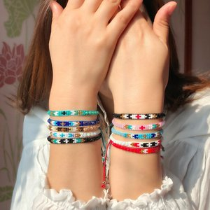 Vsco mädchen böhmischen perlen seil armbänder armreif für frauen männer einstellbar charm handgemachte geflochtene freundschaft armband national regenbogen schmuck