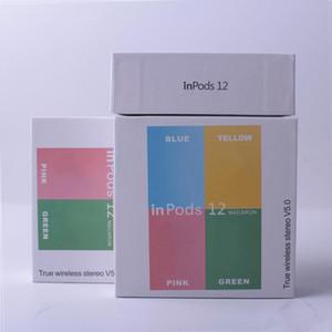 새로운 무선 블루투스 헤드폰 I12 TWS inpods 12 마카롱 V5.0 스테레오 이어폰 스포츠 Sweatproof 헤드폰 터치 이어폰