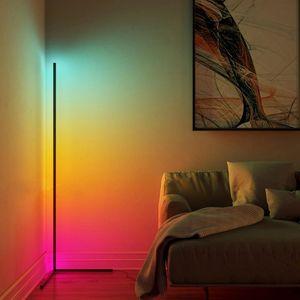 Toptan Modern RGB LED Köşe Lambader Yatak Başucu Salon Atmosfer Renkli Daimi Lambası Ev Dekorasyonu Zemin Işıklar Aydınlatma