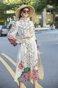 Autumn 2020 new elegant style floral lantern sleeves with waistband, slim and medium length even Printed Dress