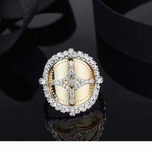 SLJELY 925 Sterling Silver Yellow Gold Color Star SOLEIL Ring Micro Pave Cubic Zirconia Stones Women Fine Jewelry