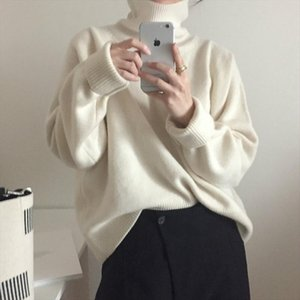 Women Autumn Winter cashmere Turtleneck white Sweater Knitted Pullovers long sleeve Elegant jumper Plus Size Drop Shipping
