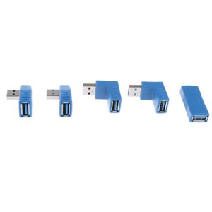 5Pcs Vertical Angled 90° USB3.0 Male To Type-A Female Adapter Converter