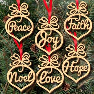 torba başına Noel mektup ahşap Kalp Kabarcık deseni Süs Noel ağacı Süsleri Ev Festivali Süsler Hediye Asma, 6 adet