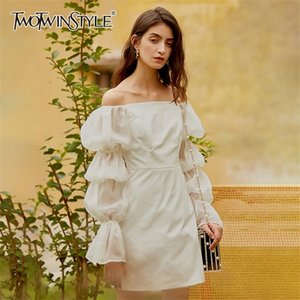 TWOTWINSTYLE Elegant White Bodycon Women Dress Slash Neck Puff Sleeve High Waist Mini Dresses Female 2020 Fashion New Clothing0924