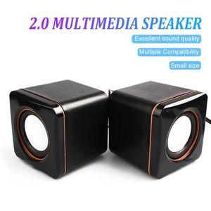 Zwei Mini-Kunststoff-Kabel 3,5-mm-USB-Audio Square Music-Player-Lautsprecher für MP3 MP4 Laptop PC Computer
