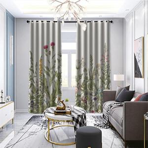 Cortinas planta de tratamiento de ventana de lujo para la sala dormitorio cortinas para la cocina de la puerta de la decoración