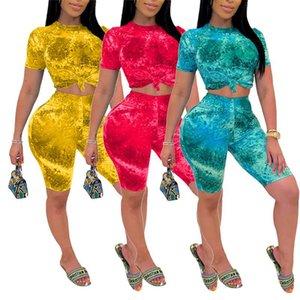 Kadınlar Tracksuits Batik Baskı Kısa Kollu Tişört Crop Top Yüksek Bel Şort Pantolon Egzersiz Eşofman yaz kıyafeti 2adet Seti