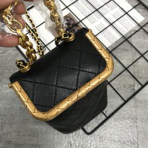 Box-Beutel-Kurier-Beutel-Ketten-Geldbeutel-Umhängetasche echtes Leder Art und Weise Diamant-Gitter-Haspe Gold-Hardware-Frauen-Mappen-freies Verschiffen