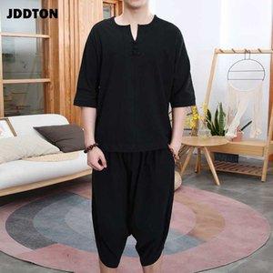JDDTON nuevo del verano de los hombres del algodón flojo de lino de dos piezas de ropa del estilo de los trajes de vestir exteriores ocasional de la manera JE112 Traje sueltas macho retro