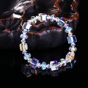 여성 스파클 기하학적 광장 파란색 링크 체인 팔찌 웨딩 선물 패션 펭 매력 크리스탈 팔찌
