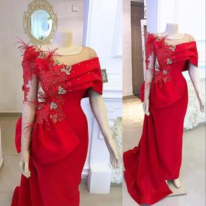 Sexy Red-Nixe-Abend-Kleider für Frauen Wear Scoop Neck Long Sleeves SpitzeAppliques wulstiger Feder-formalen Abschlussball-Kleid-Partei-Kleider