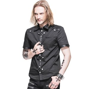 Steampunk Summer Short Sleeve Shirt Men Slim Fit Shirts Tops Casual Blouses Designs New Mens Turn-down Collar Shirts SHT008