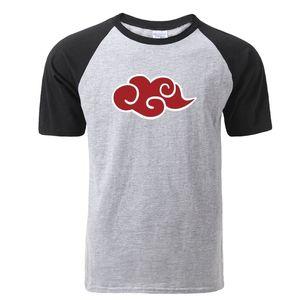 fashion naruto akatsuki logo pattern t shirt itachi uchiha anime t-shirts new men raglan tshirt 2020 hip hop costume top tees