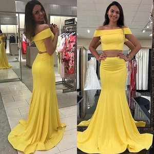 New Light Yellow Evening Dresses Fromal Prom Dresses Elastic Satin Two Piece Off The Shoulder Boat Neck Mermaid Long Cheap Party Gowns