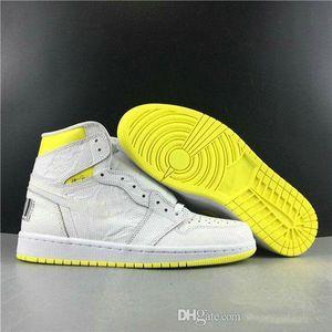 2020 NOUVEAU 1 High OG First Class First Basketball Chaussures Baskets 1S Code à barres Basques de sport jaune citron blanc