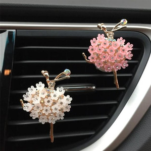 MR TEA Flower series Ballet Girlt Air Freshener Car Styling Solid Fragrance Beautiful Car Air Vent Perfume clips for Girls gifts