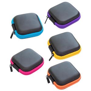 Headphone Caso PU Leather Earbuds Bag Mini Zipper fone de ouvido USB Box Protecção Organizador Fidget armazenamento Spinner Cabo Bags 5 Color DHE1042