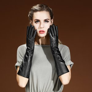 Real Leather Gloves Female 50cm Long Touchscreen Sheepskin Plus Velvet Thicken Warm Arm Sleeve Woman's Gloves Black 04