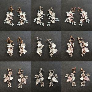SLBRIDAL Handmade strass Cristais Pérola Ceram flor nupcial Dangle Brinco casamento Brincos Chandelier Mulheres Moda Jóias