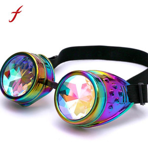 Feitong Kaleidoscope vidros coloridos Mulheres do partido Festival Rave Qualidade alta EDM Sunglasses difratados Lens Moda Feminina