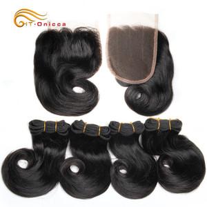 Doppeltes gezeichnete Funmi Haar Bündel mit Closure Curly 8-Zoll-Menschenhaar 100% spinnt brasilianische Remy Haar-Verlängerung 1B 27 30 Burgundy