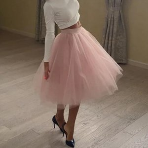Quality 5 Layers Fashion Tulle Skirt Pleated Tutu Skirts Womens Lolita Petticoat Bridesmaids Midi Skirt Jupe Saias Faldas