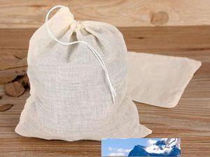 500pcs NEW Cotton Muslin Kordelzug Sieb Tee, Gewürz, Obst Saft Speisen Separate Filter Beutel für Tee-Werkzeuge Trinken