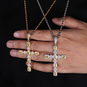Iced Out Chains Hip Hop Jewelry Full Diamond Cross Pendant Necklace Micro Cubic Zirconia Copper Set Diamond Necklace Bread Diamond