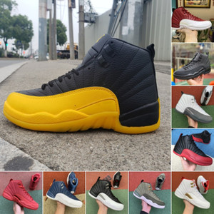 고품질 12 개 12S OVO 대학 골드 게임 로얄 블루 역 택시 다크 그레이 농구 신발 남성 마스터 독감 게임 FIBA 스니커즈