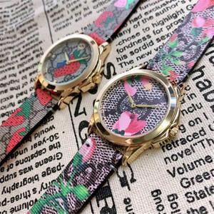 2020 nouvelle fraise Montrésor mode fleurs cadran célèbre montre des femmes des hommes 38MM luxe Montres de quartz horloge robe fille bracelet coloré