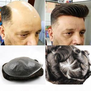 Umani naturali Toupee dei capelli per gli uomini con il 100% dei capelli umani 0.02-0.03mm ultra pelle sottile V-loop sostituzione del sistema dei capelli