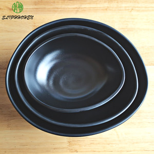 Black Frosted 7 8 9.5 Inch Hotel Rice Bowl Restaurant Tableware A5 Melamine Imitation Porcelain Dinnerware