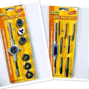 8PC Tap Die Set tornillo de rosca de tornillo de mano de carbono Taps Taps ajustables Llave Dies