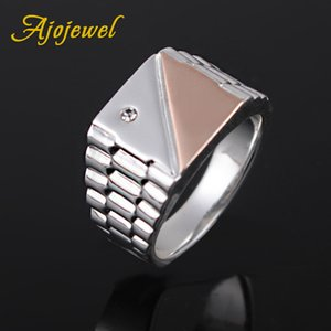 Size 8-10 New Design Rose Gold & Silver Color Square Men Ring High Quality Cool Style Male Jewelry