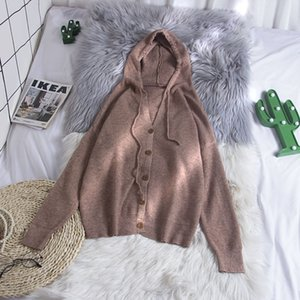 2020 New Autumn And Winter Korean chic loose sweater thick cardigan with long-sleeved Hooded knitted sweater