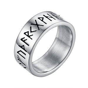 Valily Argent Antique - Couleur Rétro anneau Rune Viking Amulette en acier inoxydable Vintage Norse Rune Anneaux Homme Bijoux pour les femmes
