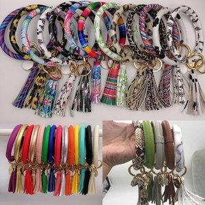 Fashion Pu Leather Tassel Bangle Keychain Bracelet Key Ring Round Sunflower Leopard Cactus Solid Keyring Pendant Gifts WX9-1649