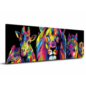 Colorful Wolf By Ejlove On Deviantart,3 Pieces HD Canvas Print Home Decor Art Painting  (Unframed Framed)