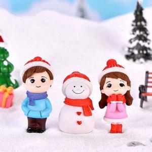 1pair Sweety Couple Lovers Couple d'hiver bricolage Mini miniature Figurine Bonhomme de neige Micro Paysage Jardin Décor