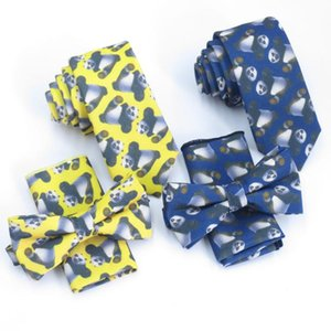 men Yellow printed necktie, panda pattern light navy ties Fashion bowtie and pocket square 6CM tie.
