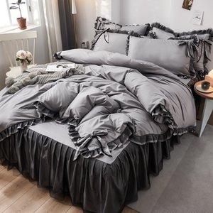 modelos de explosión rojos red de la cama de cuatro piezas de seda bordado lavó ropa de cama de princesa de seda del hielo viento de cuatro piezas conjunto