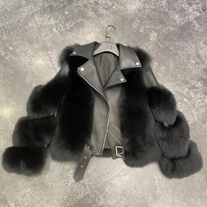 Marca 2020 Luxury Real pelliccia invernale rivestimento delle donne pelliccia naturale Genuine Leather Locomotiva Cappotti Streetwear spessore caldo
