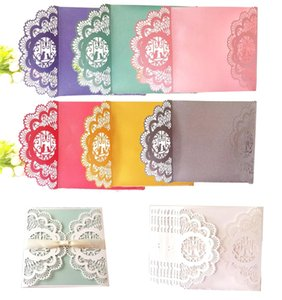 Wedding Inviting Card European Style Delicate Carved Flower Pattern Hollow Out Greeting Cards Multi Color 1 5dd C R